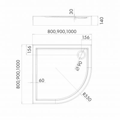 Schedpol Competia brodzik półokrągły 80x80 cm biały 3.0163