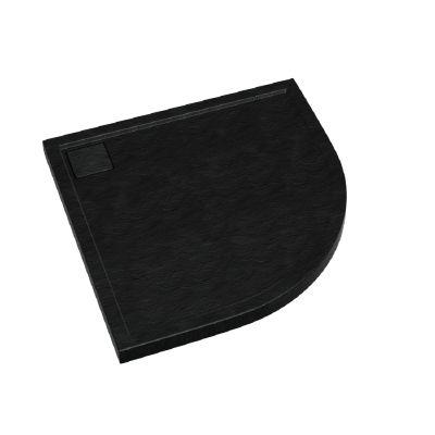 Schedpol Omega Black Stone brodzik półokrągły 100x100 cm struktura czarnego kamienia 3.0460/C/ST