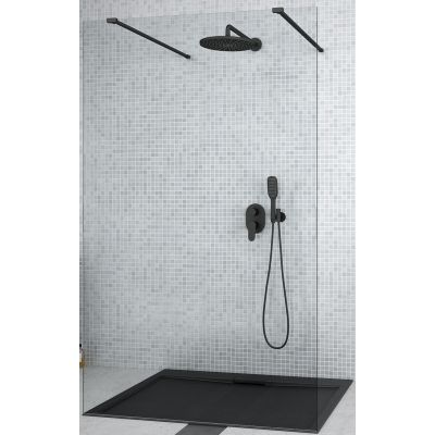 Besco Aveo Due Black Walk-In ścianka prysznicowa 130 cm szkło przezroczyste ADB-130-195C