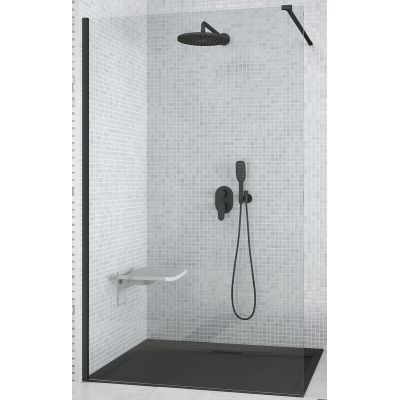 Besco Aveo Black Walk-In ścianka prysznicowa 140 cm szkło przezroczyste AVB-140-195C