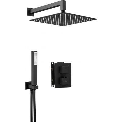 Deante Box Nero zestaw prysznicowy z baterią podtynkową termostatyczną i deszczownicą czarny mat BXYZNEAT
