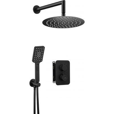 Deante Box Nero zestaw prysznicowy z baterią podtynkową termostatyczną i deszczownicą czarny mat BXYZNEBT