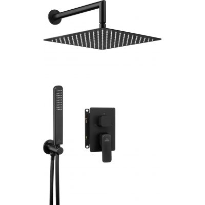 Deante Hiacynt Nero zestaw prysznicowy z baterią podtynkową i deszczownicą czarny mat BXYZNQHM