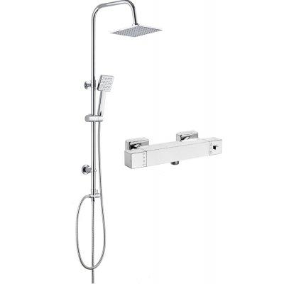 Zestaw Deante bateria termostatyczna Begonia i zestaw prysznicowy z deszczownicą Floks (BCB04AT, NAC01FK)