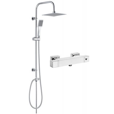 Deante Vero zestaw prysznicowy z baterię termostatyczną Begonia chrom (BCB04AT, NBV051K)