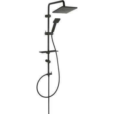 Ferro Squerto Lux Black zestaw prysznicowy z deszczownicą czarny NP24-BL