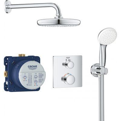 Grohe Grohtherm Tempesta 210 zestaw prysznicowy termostatyczny podtynkowy z deszczownicą chrom 34729000