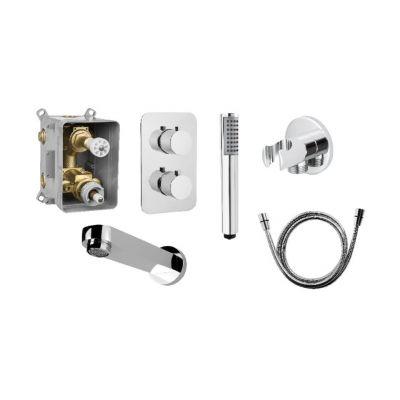 Zestaw Deante Box bateria wannowo-prysznicowa podtynkowa termostatyczna z zestawem natryskowym i wylewką chrom (BXX0EBT, BXXX44T, NOR051S, NDA151S, NAC051K, NAC081K)