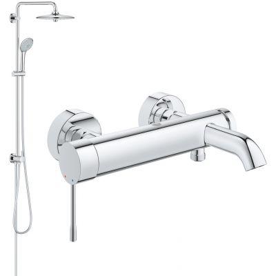 Zestaw Grohe Essence bateria wannowo-prysznicowa i zestaw prysznicowy z deszczownicą Euphoria System 260 chrom (33624001, 27421002)