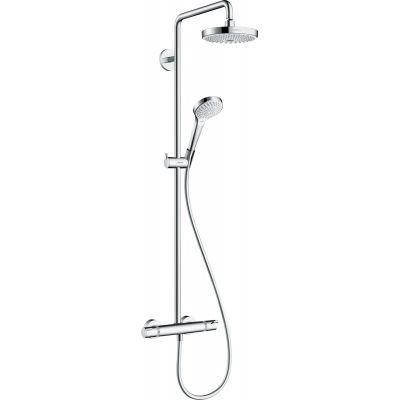 Hansgrohe Croma Select S Showerpipe EcoSmart zestaw prysznicowy ścienny termostatyczny biały/chrom 27254400
