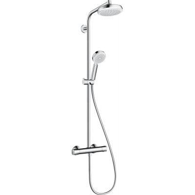 Hansgrohe Crometta 160 Showerpipe zestaw prysznicowy ścienny termostatyczny biały/chrom 27264400