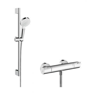 Hansgrohe Crometta zestaw prysznicowy ścienny termostatyczny biały/chrom 27812400