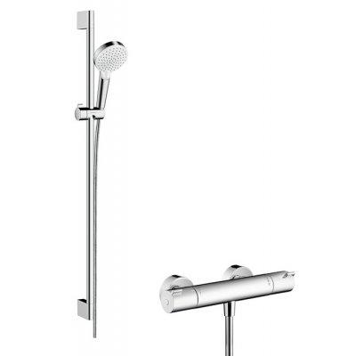 Hansgrohe Crometta zestaw prysznicowy ścienny termostatyczny biały/chrom 27813400
