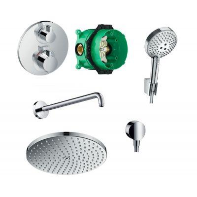 Hansgrohe Raindance Select S PowderRain zestaw prysznicowy podtynkowy z baterią termostatyczną Ecostat, deszczownicą i kompletem natryskowym chrom 52056499