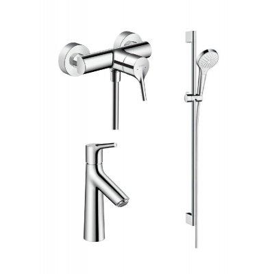 Zestaw Hansgrohe Talis S bateria prysznicowa i umywalkowa z zestawem prysznicowym Croma (72600000, 72020000, 26562400)