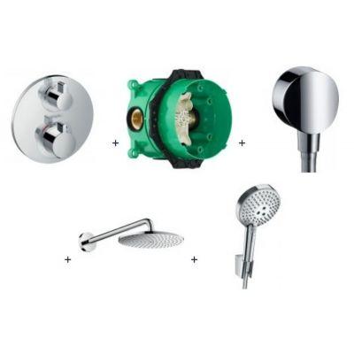 Hansgrohe Raindance Select S PowderRain zestaw prysznicowy podtynkowy z baterią termostatyczną Ecostat, deszczownicą i kompletem natryskowym chrom 52056499 (15758000, 01800180, 27453000, 27607000, 27669000)