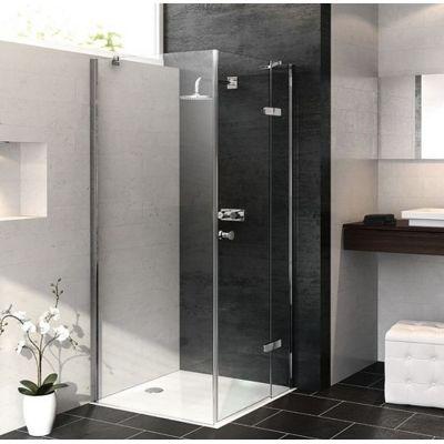 Hüppe Enjoy pure częściowo w ramie 4-kąt ścianka prysznicowa 80 cm boczna chrom eloxal/szkło przezroczyste Anti-Plaque 4T1603.092.322