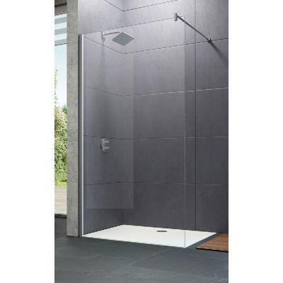 Hüppe Design pure Walk-In 4-kąt ścianka prysznicowa 80 cm wolnostojąca chrom eloxal/szkło przezroczyste Anti-Plaque 8P1101.092.322
