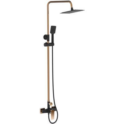Invena Midnight Trend zestaw prysznicowy ścienny z deszczownicą czarny/różowe złoto AU-35-D14