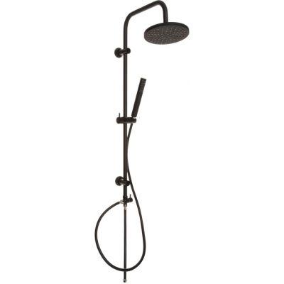 Invena SIros Black zestaw prysznicowy ścienny z deszczownicą czarny mat AU-80-D04