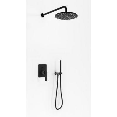 Kohlman Experience Black zestaw prysznicowy podtynkowy z deszczownicą 25 cm czarny mat QW210EBR25EB