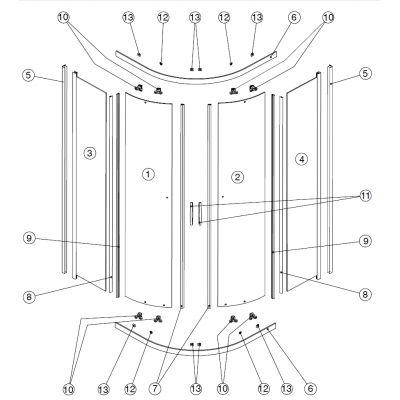 Koło Rekord szyba drzwi lewa szkło przezroczyste P10005XX