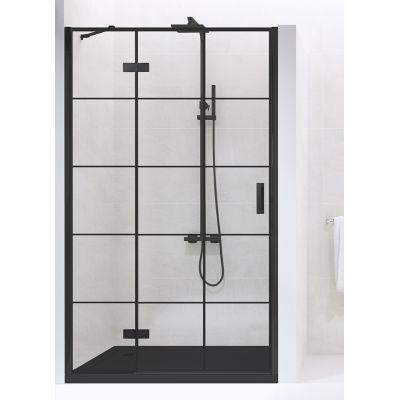 New Trendy New Renoma Black drzwi prysznicowe 90 cm wnękowe lewe szkło przezroczyste z nadrukiem D-0271A