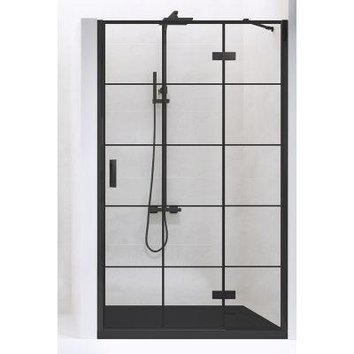 New Trendy New Renoma Black drzwi prysznicowe 90 cm wnękowe prawe szkło przezroczyste z nadrukiem D-0272A