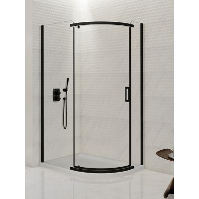 New Trendy New Komfort Black kabina prysznicowa 120x85 cm półokrągła asymetryczna szkło przezroczyste K-0471
