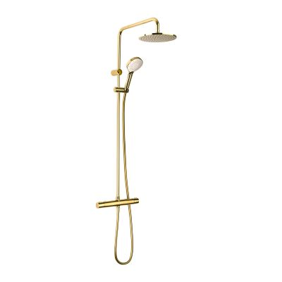 Oltens Atran zestaw prysznicowy termostatyczny z deszczownicą okrągłą złoty połysk 36500800