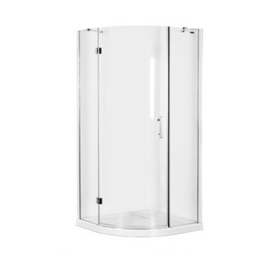 Kabina Prysznicowa Szklana Uchylna Półokrągła 90 X 90 X 185 Cm