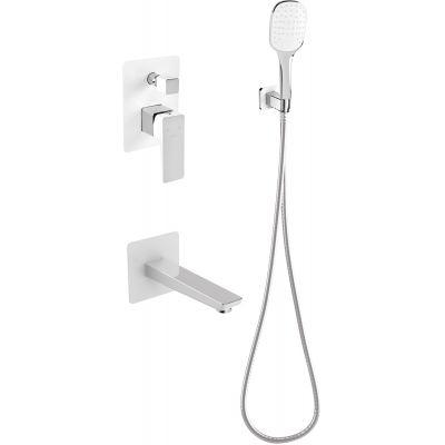 Omnires Parma zestaw prysznicowy podtynkowy z wylewką chrom/biel SYSPMW01CRB