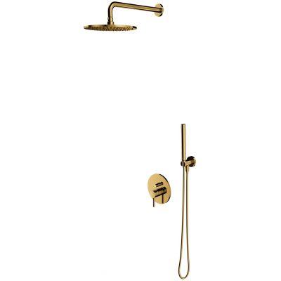 Omnires Y zestaw prysznicowy podtynkowy z deszczownicą złoty SYSY19GL