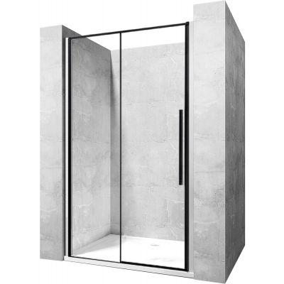 Rea Solar Black drzwi prysznicowe 90 cm wnękowe szkło przezroczyste REA-K6319