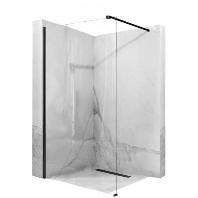 Rea Aero Black ścianka prysznicowa 110 cm wolnostojąca czarny/szkło przezroczyste REA-K6597