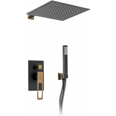 Rea Soho Black Gold zestaw prysznicowy podtynkowy czarny mat/złoty REA-P6950