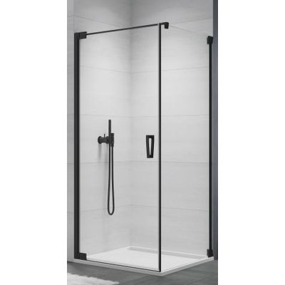 SanSwiss Cadura ścianka prysznicowa 100 cm boczna czarny mat/szkło przezroczyste  CAT11000607