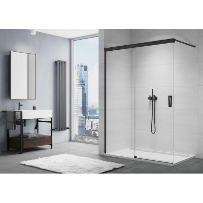 SanSwiss Cadura ścianka prysznicowa Walk-In 120 cm z elementem przesuwnym lewa czarny mat/szkło przezroczyste CAW2G1200607