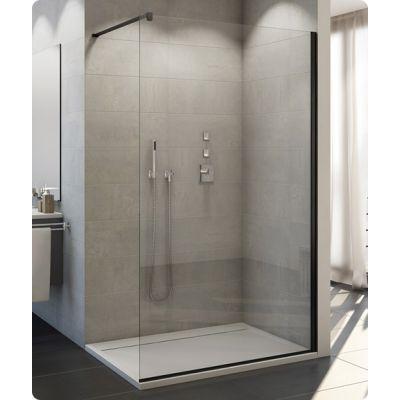 SanSwiss Easy ścianka prysznicowa Walk-In 80 cm wolnostojąca czarny mat/szkło przezroczyste  STR4P0800607