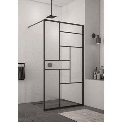 SanSwiss Walk-In Easy ścianka prysznicowa Walk-In 90 cm wolnostojąca czarny mat/szkło Lofty 73 STR4P0900673