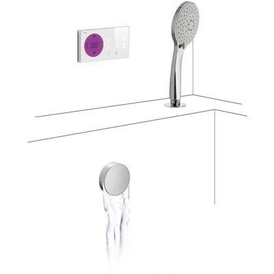 Tres Shower Technology zestaw wannowo-prysznicowy z baterią podtynkową termostatyczną elektroniczną chrom/biały 092.865.73