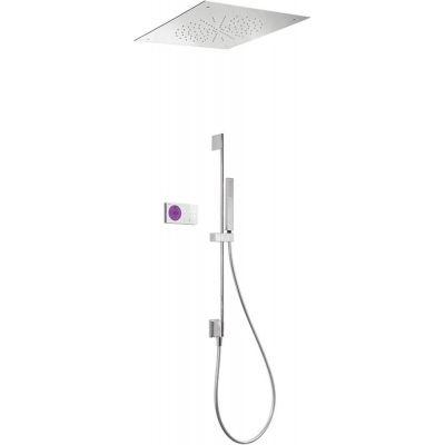 Tres Shower Technology zestaw prysznicowy z baterią podtynkową termostatyczną elektroniczną chrom/biały 092.865.81