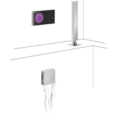 Tres Shower Technology zestaw wannowo-prysznicowy z baterią podtynkową termostatyczną elektroniczną chrom/czarny 092.885.71