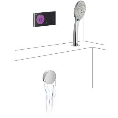 Tres Shower Technology zestaw wannowo-prysznicowy z baterią podtynkową termostatyczną elektroniczną chrom/czarny 092.885.73