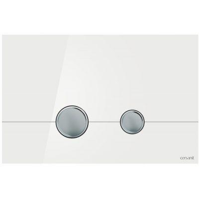 Cersanit Stero przycisk spłukujący do WC szkło białe/chrom K97-368