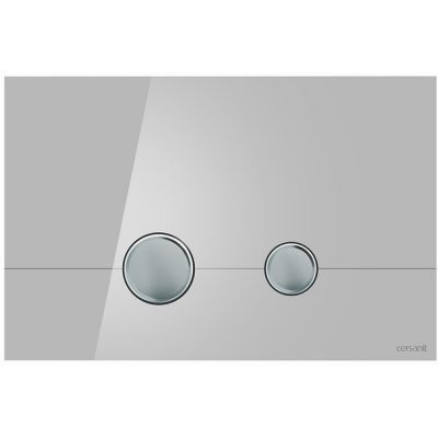 Cersanit Stero przycisk spłukujący do WC szkło szare/chrom K97-370