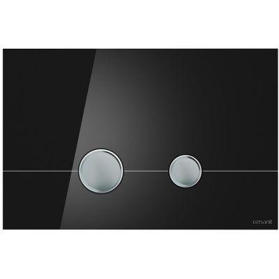 Cersanit Stero przycisk spłukujący do WC szkło czarne/chrom K97-372