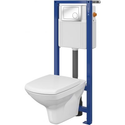 Cersanit Carina Set 800 miska WC CleanOn z deską wolnoopadającą i stelaż podtynkowy Aqua z przyciskiem spłukującym Link chrom błyszczący S701-173