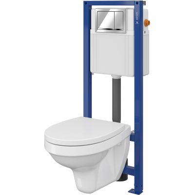 Cersanit Delfi Set 895 miska WC z deską wolnoopadającą i stelaż podtynkowy Aqua z przyciskiem spłukującym Enter chrom błyszczący S701-216