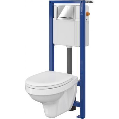 Cersanit Delfi Set 896 miska WC z deską wolnoopadającą i stelaż podtynkowy Aqua z przyciskiem spłukującym Enter chrom błyszczący S701-217
